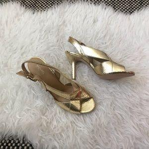 Michael Kors Becky slingback snakeskin heels